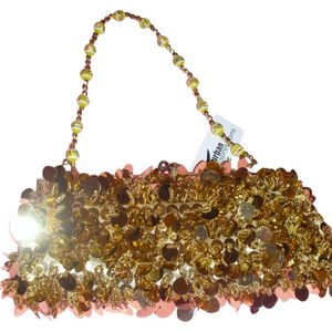 Gold evening sequined beaded clutch bag w/ straps